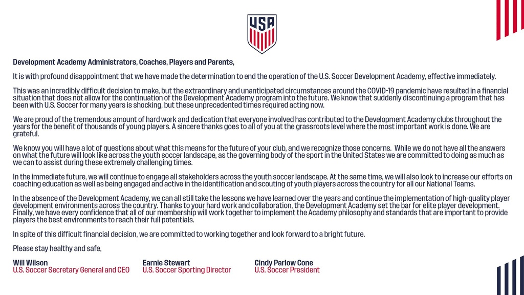 Letter from USSF to Close the DA